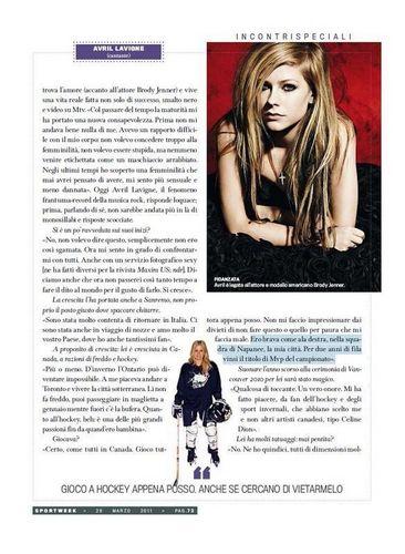 Avril in Sport Week Magazine