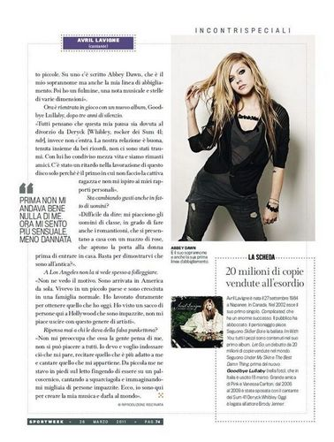 Avril in Sport Week Magazine