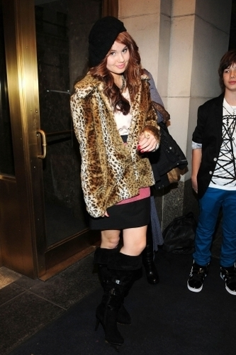 Debby Leaving her Hotel in New York