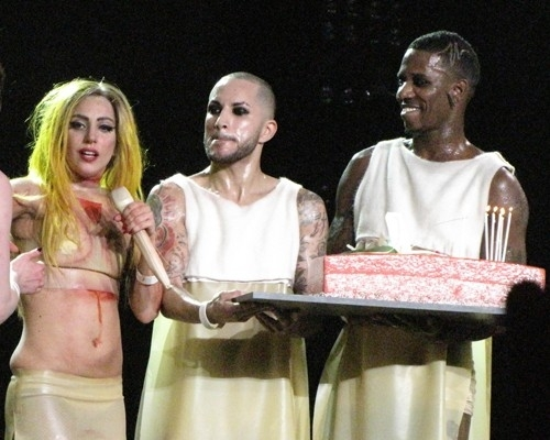Gaga on stage with her birthday cake