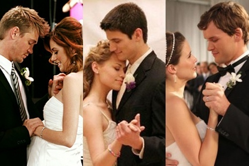 One Tree Hill wallpaper possibly with a bridesmaid, a business suit, and a dress suit titled Leyton Naley and Brulian Wedding