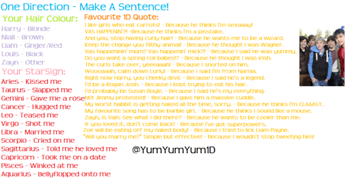 "Make an ""One Direction"" sentence<333"