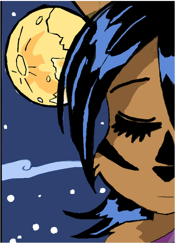 Nicole face and the moon
