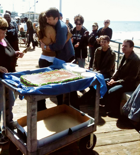 Stana gives Nathan a big hug on his birthday <3