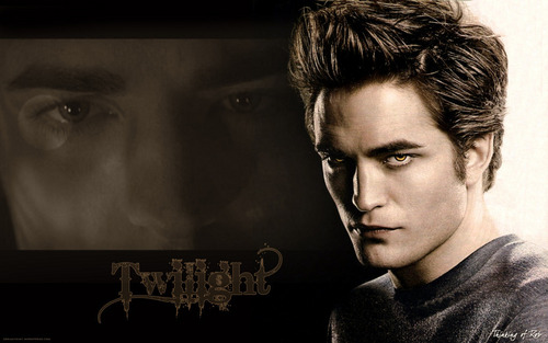 "Edward Cullen wallpaper probably containing a sign and a portrait entitled Twilight"" Wallpapers"