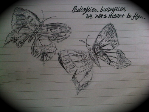 "Wanted or 4eva! ""Butterflies, papillons We Were Meant To Fly"" 100% Real :) x"