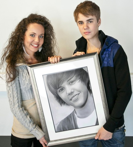 me, justin bieber and my drawing of him