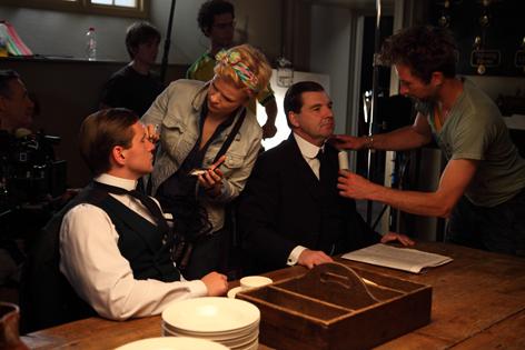 Allen Leech and Brendan Coyle filming series 1