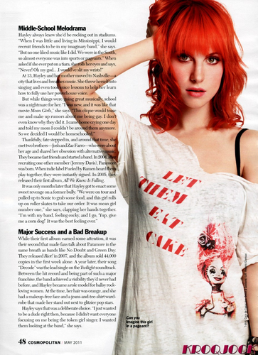 Paramore fond d'écran with a portrait titled Hayley Williams in Cosmopolitan Magazine