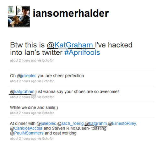 Ian's Twitter Mentions Kat- FINALLY!! :D