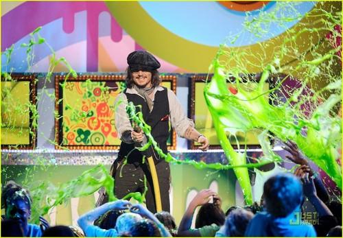Johnny Depp: Slime Hose at KCA 2011!