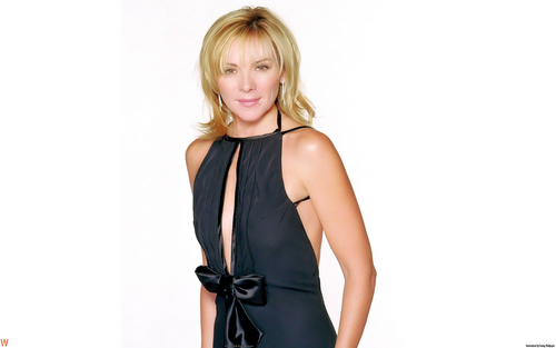 Kim Cattrall karatasi la kupamba ukuta possibly with a cocktail dress, a chemise, and a chemise called Kim Cattrall karatasi la kupamba ukuta