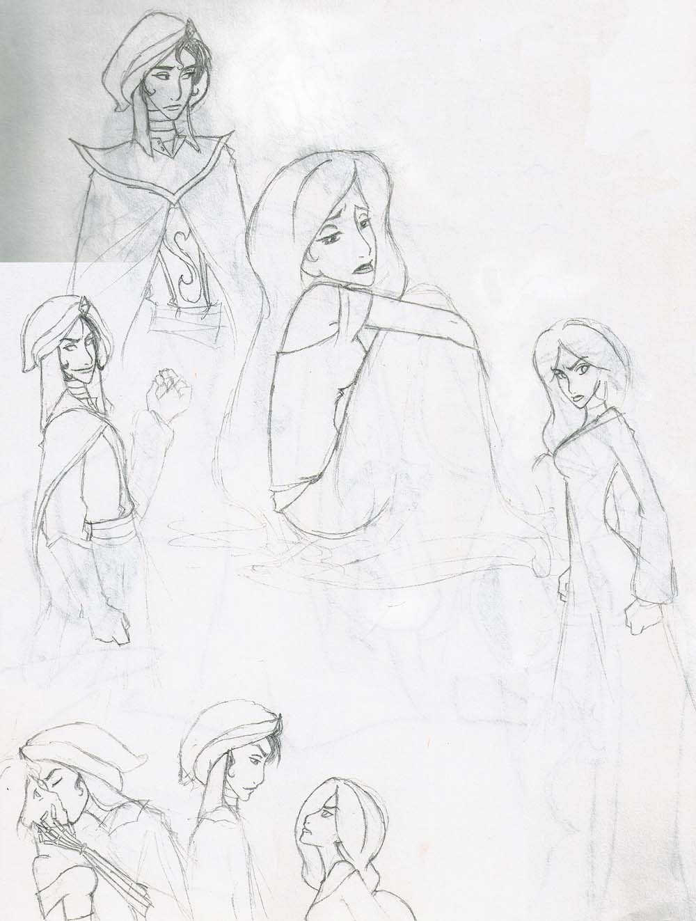 Mozenrath and jasmine sketches