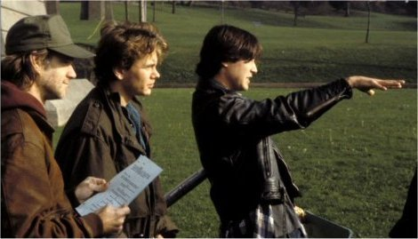 River Phoenix & Keanu Reeves wallpaper probably with a surcoat called My Own Private Idaho Behind the Scene