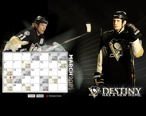 Pittsburgh Penguins March 2011 Calendar/Schedule