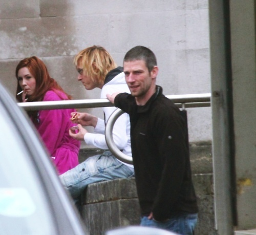 Matt Smith & Karen Gillan wallpaper possibly containing a street titled Series 6 filming