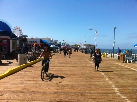 Stana Biking on Santa Monica Pier