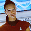 Zoë Saldaña as Uhura picha with a portrait entitled Uhura
