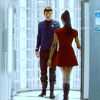 Zoë Saldaña as Uhura photo possibly with a holding cell and a revolving door titled Uhura