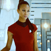 Zoë Saldaña as Uhura picha possibly containing tights, a legging, and a playsuit titled Uhura