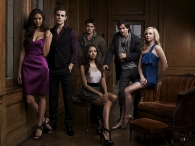 caroline, bonnie, stefan, damon, elena and jeremy