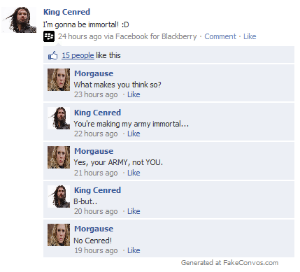 cenred and morgause argue on facebook
