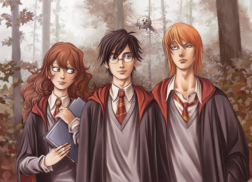 Harry, Ron and Hermione দেওয়ালপত্র titled harry ron hermione