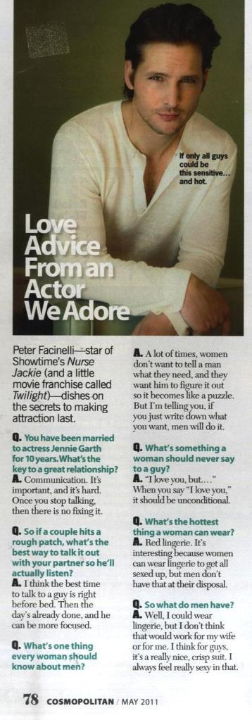 (Q&A) Peter Facinelli talks about Twilight in Cosmopolitan Mag (May Issue)