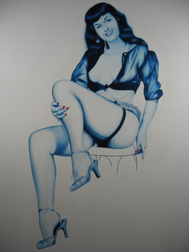 Bettie Page in blue, Oil on canvas