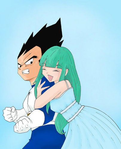 Bulma hugging Vegeta