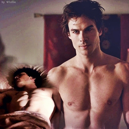 The Vampire Diaries wallpaper containing a six pack and skin titled Damon shirtless