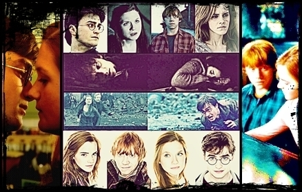 Harry Potter wallpaper with anime called Harry, Ginny, Hermione and Ron.