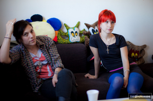 Hayley Williams and Lindsey Byrnes in the office