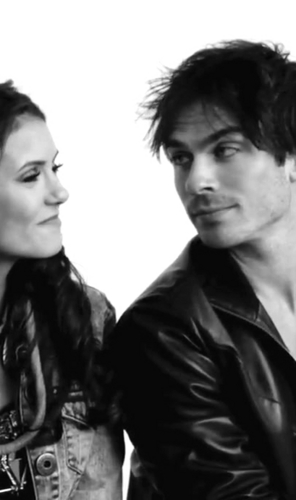Ian Somerhalder and Nina Dobrev wallpaper possibly containing a business suit and a well dressed person titled Ian/Nina ღ Old Pics