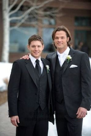 Jared Padalecki & Genevieve Cortese 壁紙 with a business suit, a suit, and a two piece titled Jared & Jensen