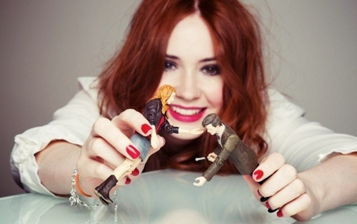 Karen Gillan wallpaper called Karen Gillan with her action figure ♥