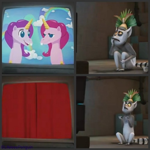 King Julien loves shows about यूनिकॉर्न
