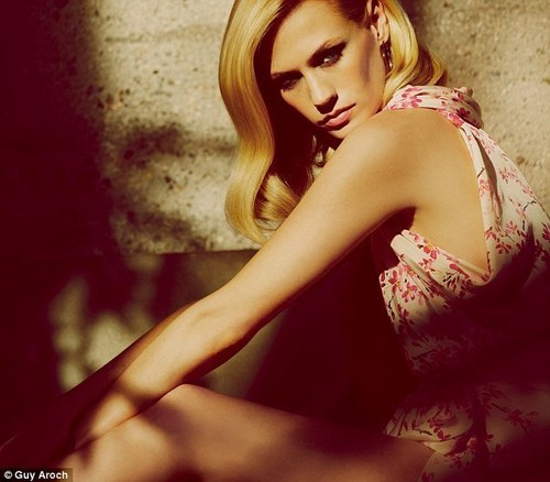 January Jones wallpaper possibly containing a dinner dress titled Marie Claire UK