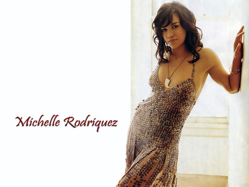 Michelle Rodriguez fond d'écran possibly with a dîner dress, a cocktail dress, and a portrait titled Michelle Rodriguez