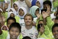Nico Rosberg with children at Kuala Lumpur
