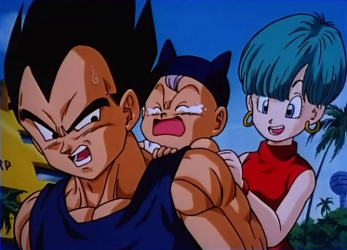 Prince Vegeta wallpaper with anime titled Vegeta, baby Trunks, and Bulma