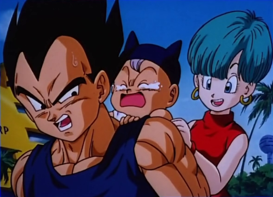Vegeta, baby Trunks, and Bulma