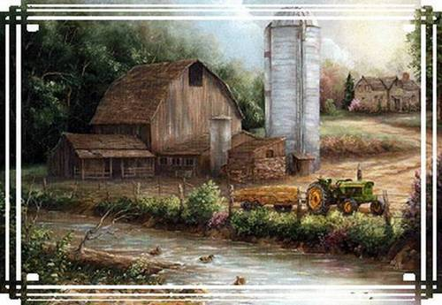 barn by a creek