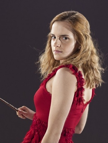 Hermione Granger wolpeyper probably with a kaktel dress titled hermione granger in red dress from the wedding in harry potter 7