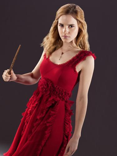 Hermione Granger wallpaper probably containing a dinner dress and a cocktail dress entitled hermione granger in red dress from the wedding in harry potter 7