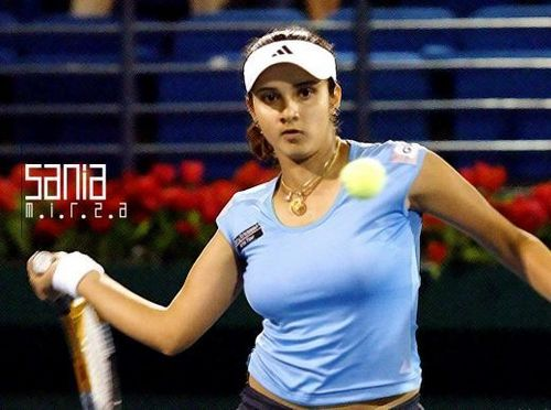 Tennis wallpaper containing a tennis pro, a tennis player, and a tennis racket titled sania mirza hot breast