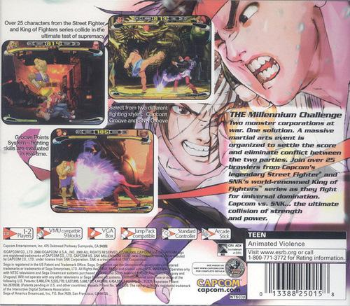 Capcom vs SNK back cover