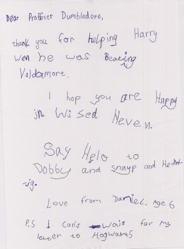 Cute letters to Hogwarts.