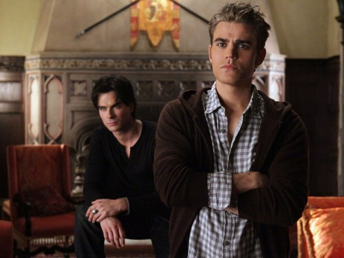 Damon and Stefan Salvatore 바탕화면 containing a business suit, a brasserie, and a 거리 titled Damon&Stefan ✯