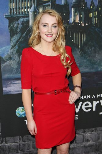 Evanna Lynch fondo de pantalla probably containing hosiery, an outerwear, and a playsuit, traje de juguete called Deathly Hallows: Part I & NYC Exhibition premiere